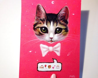 Emoji Birthday Kitten postcard. Cat. Mini Print.