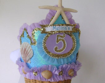 MERMAID BIRTHDAY CROWN ,Mermaid Birthday Hat, Under the sea Birthday, Shells, Starfish crown, customize