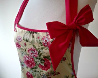 shabby chic apron - floral full apron - vintage style full apron - hot pink apron - roses full apron bow apron - vintage floral apron