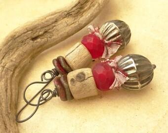 Driftwood Mixed Bead Copper Earrings