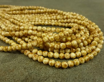 Opaque White Picasso Czech Glass Druk 4mm 100pc Strand Round Beads Butter Pecan