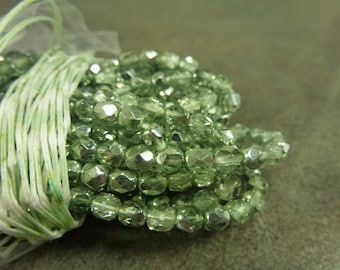 Mint Mirror Czech Glass Firepolish Beads 4mm Faceted Glass 50pc Metallic