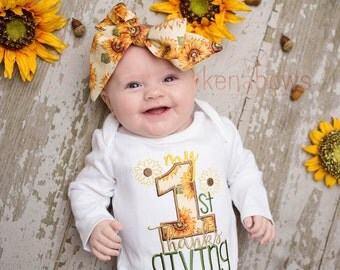 Baby's First Thanksgiving Outfit, Sunflowers, First Fall Shirt, Girl, Sunflower Headwrap, Fabric Bow Headband, My 1st Thanksgiving Baby Girl