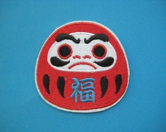 Iron-on Embroidered Patch Japanese Doll Daruma 3 inch