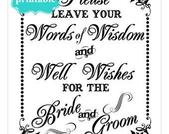 INSTANT DOWNLOAD- 8 x 10 Words of Wisdom for the Bride and Groom---Printable PDF File