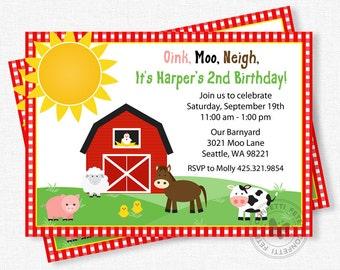 Barn Birthday Invitation, Farm Party Invitation, Barnyard Invitations, Old McDonald Birthday, Farm Birthday