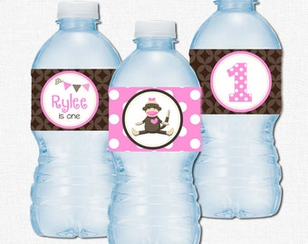 Sock Monkey Water Bottle Labels, Monkey Birthday Party Decorations, Sock Monkey Label Wraps, Personalized