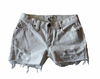 50% half off sale // 90s Abercrombie White Denim Shorts // Women XS Small // destroyed, low rise