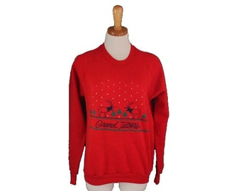 sale // Vintage Ugly Christmas Sweater - Red Sweatshirt - Women M Men S - Grand Tetons Reindeer