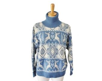 sale // Vintage 90s REINDEER Nordic Sweater - Holiday Christmas Jumper - Women M Blue Turtleneck, United States Sweaters