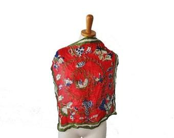 BLOWOUT 40% off sale Vintage 1940s Alice in Wonderland Theme Scarf - Silk Fashion Scarf