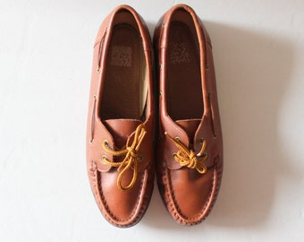 Vintage 90s Natural Sport Boat Shoes // Whiskey Brown Leather // Women 7M