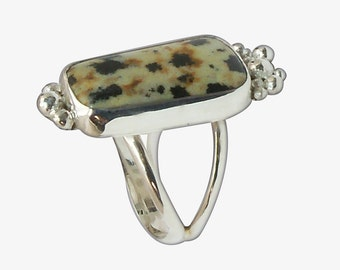 Dalmatian Jasper Ring Set in Sterling Silver, Size 7  r7dalf2704