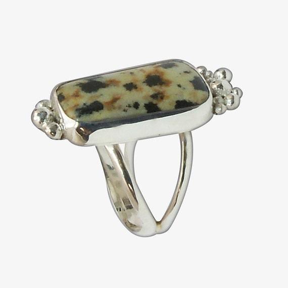 Dalmatian Jasper Ring Set in Sterling Silver, Size 7  r7dalf2704