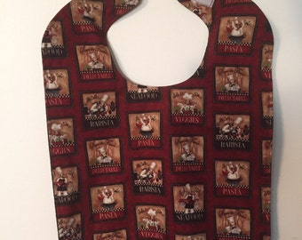 Adult clothing bib, senior bib, clothing protector.