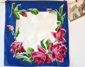Vintage American Beauty Rose Cotton Handkerchief