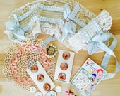 Lot vintage trinkets 1920s tulle lace flapper headband crochet pink lace doily/pearl buckle/mother of pearl buttons