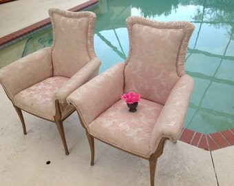 PRETTY IN PINK Vintage French Style Chairs / Bergere Chairs / Pair of Shabby Chic French Provincial / Paris Apt style at Retro Daisy Girl