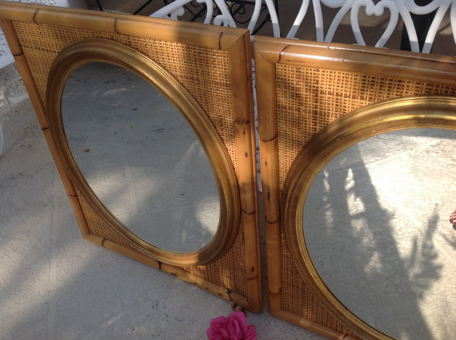Bamboo Rattan Mirrors Pair Of Rattan Mirrors 32 Tall