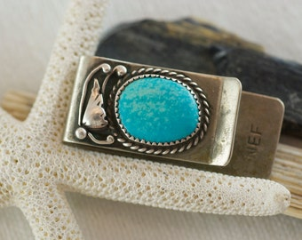 Vintage Native American Sterling silver Turquoise Signed Norman E Freeman Navajo Money Clip  .....6074
