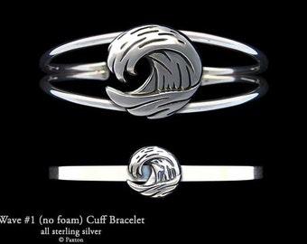 Ocean Wave Bracelet Sterling Silver Wave Cuff Bracelet Handmade