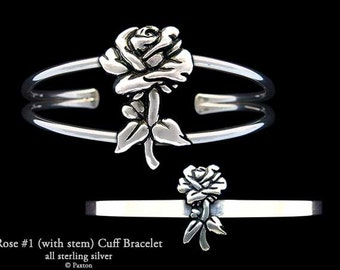 Rose Flower Bracelet Sterling Silver Rose Cuff Bracelet Handmade