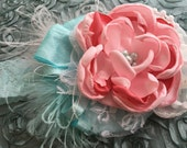 California Carousel Pink Aqua Blue Baby Flower Couture Vintage Inspired Headband