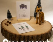 Woodland Watercolour 2016 Mini Calendar Digital Download with Bonus