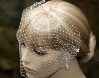 Birdcage Veil Wedding Bridal Blusher Pearls Rhinestones Scattered Over the Veil