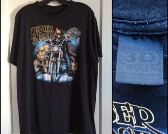1980's Biker Dude and Wolves Leader of the Pack Harley Davidson Motorcycle T-shirt size XL 1988 3-D Emblem 22.5x28