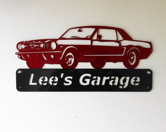 1965 Ford Mustang- Personalized - Man Cave -Garage Sign- Car Art- Metal Art - Automotive Wall Decor- Custom Colors