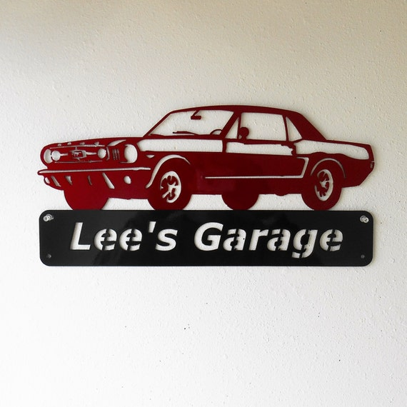 Personalized - 1965 Ford Mustang- Man Cave -Garage Sign- Car Art- Metal Art - Automotive Wall Decor- Custom Colors