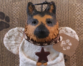 German Shepherd Angel,OOAK hand-sculpted from papier mache,GERMAN SHEPHERD Angel