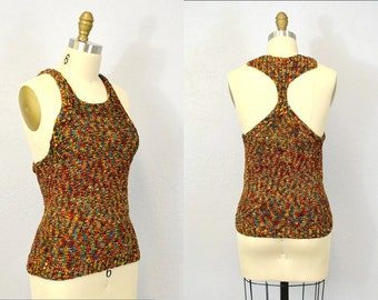 Racerback tank sweater top hipster indie festival summer  multicolored small casual spring vacation IngridIceland  vintage