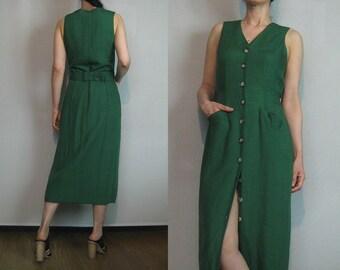 80s LINEN BELTED Button Down Vintage Beecher's Brook Linen Rayon Blend Sleeveless V Neck Tank Dress s/m Medium 1980s