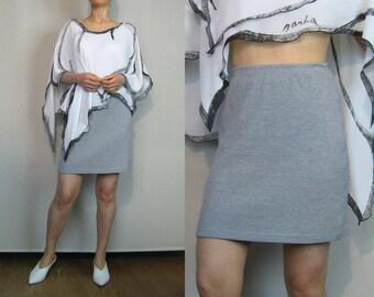 80s Gray WAFFLE KNIT Cotton Mini Skirt Vintage Gray Knit Mini Skirt Minimalist Skirt Gray Sweater Skirt Waffle 80s Gray Cotton Mini Skirt