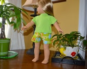 18 Inch Doll Green Animal Print Boxer Shorts and Lime Green Short Sleeve Tshirt by SEWSWEETDAISY