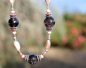 Smokey quartz, mother of pearl, coral and sterling silver necklace by EvyDaywear