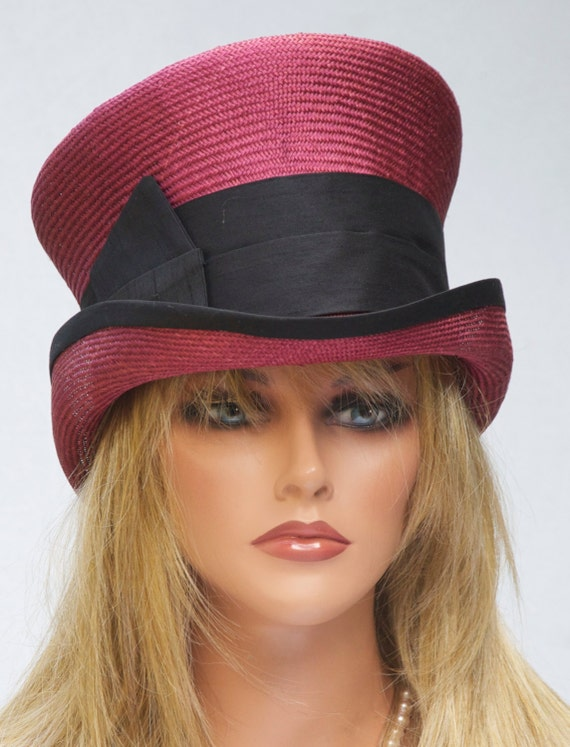 Red Hat, Burgundy Top Hat, Kentucky Derby hat, Wedding Hat, Red and Black Hat, Mad Hatter, Victorian English Riding Hat Winter Summer Hat