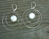 Double Loop Sterling Silver Earrings with Coin Pearls