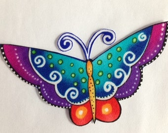 Set of 3 Iron On Butterfly Appliques (identical)*Handmade*LAUREL BURCH fabric/69