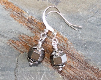 Silver Earrings, Hematite Earrings, Shiny Earrings, Stone Earrings, Everyday Earrings, Handmade Earrings, Holiday Earrings