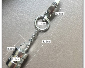 6pcs Silver end stopper Rope stopper with c lobster claws swivel hooks hook  8.5cm length dia. 14mm inside size handbag handle hardware