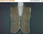 40% OFF Vintage 70s Chunky Knit Sweater Vest Sage Rust Button Front S M B 34-38