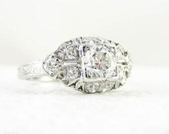 Old European Cut Diamond Engagement Ring. Art Deco Platinum Engraved Filigree Edwardian 0.74 ctw Diamond Ring, Circa 1920s.