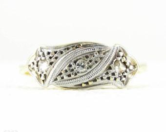 Art Deco Diamond Engagement Ring, Three Stone Diamond Trilogy Ring. Milgrain Beaded Engraved Setting, 18 Carat & Platinum.