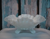 Vintage Ruffled, Three Footed Milk Glass Candy Dish, Westmoreland.
