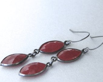 SALE Ruby Dangle Earrings / Deep Red Faceted Ruby Earrings / Sterling Silver and Ruby Drop Earrings / Accessories / Gift for Her / Earrings