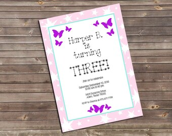 purple butterflies & pink stars third birthday printable invitation