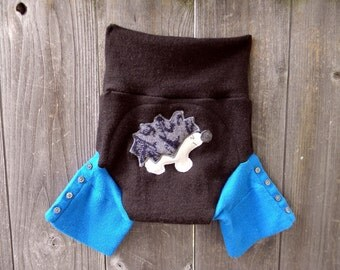 Upcycled  Wool Shorties Soaker Cover Diaper Cover With Added Doubler Brown/ Turquoise With Hedgehog  Applique LARGE 12-24M Kidsgogreen